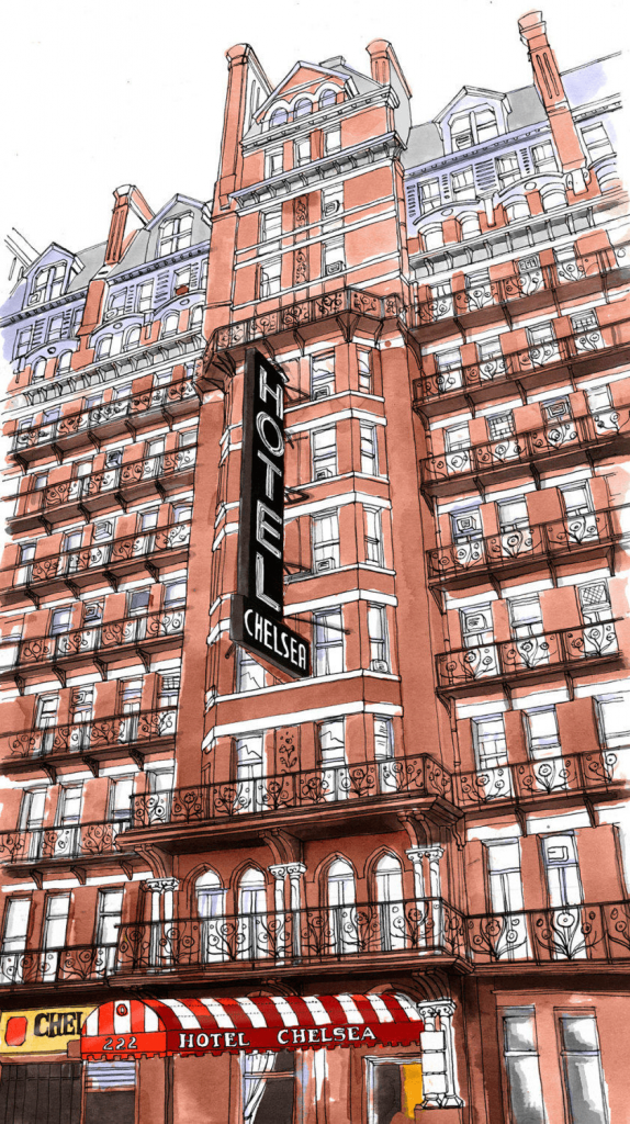 Chelsea Hotel illustration by Emma Kelly