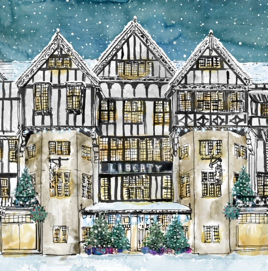 Liberty London Advent Calendar illustrated by Sarah Maycock