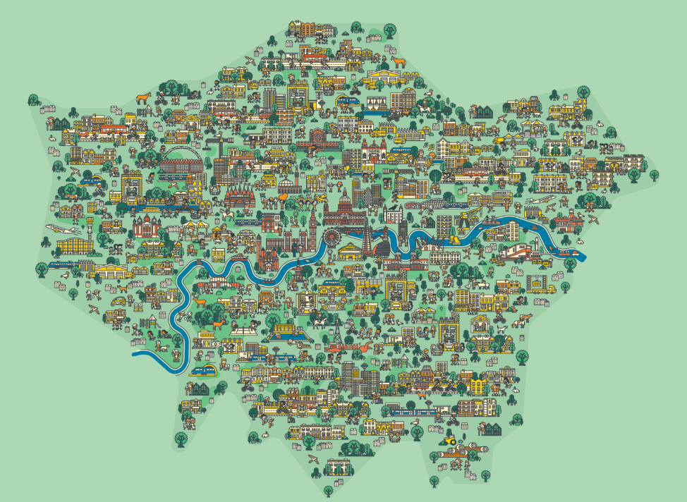 Map illustration for Mayor of London city development plan