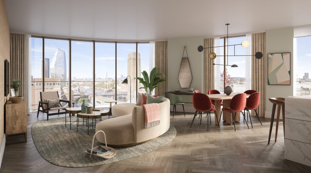 Living room at Triptych Bankside
