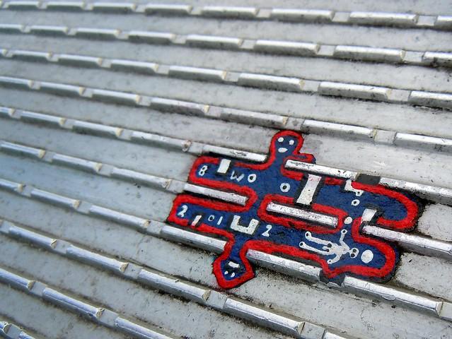 Ben Wilson's chewing gum art on the Millennium Bridge