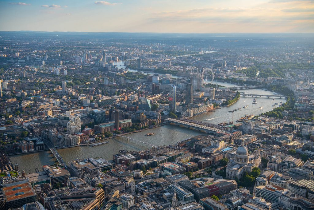 Aerial view of the South Bank, London, from the London Eye to Blackfriars Bridge