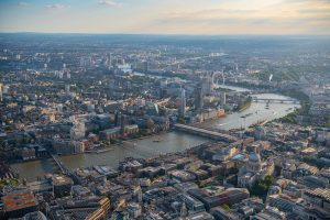 Aerial view of Southbank, London