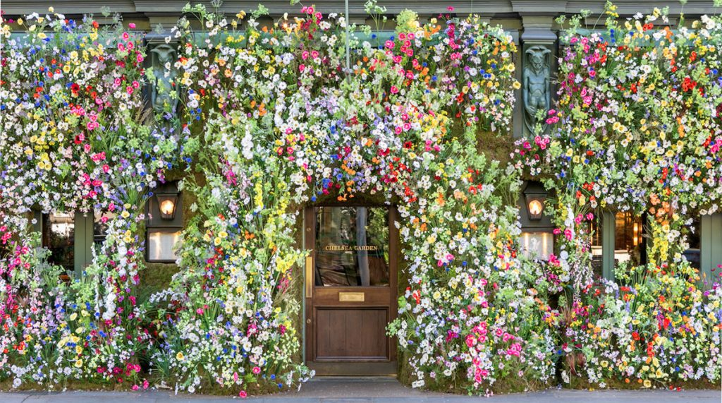 Summer floral installation at Ivy Chelsea Garden, image courtesy of The Resident