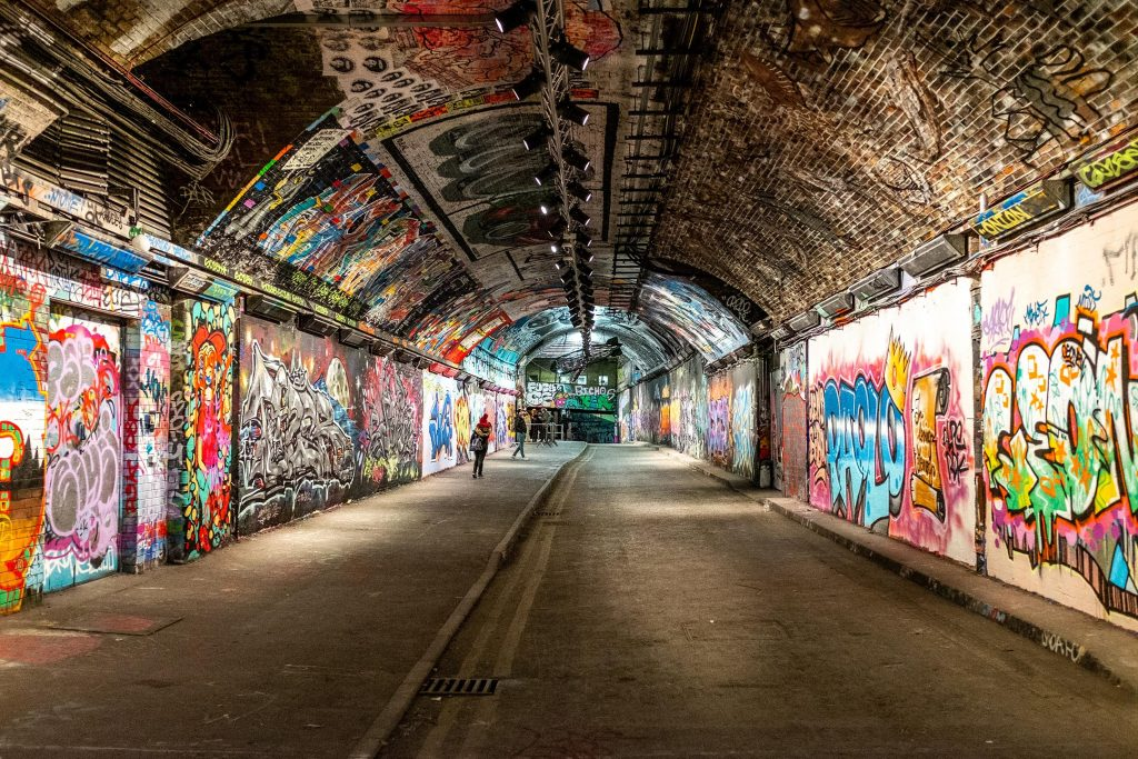 Leake Street graffiti tunnel looking north by Ethan Doyle White
