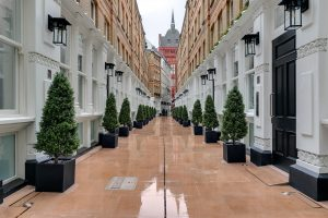 View towards Holborn Bars from Pinks Mews' courtyard