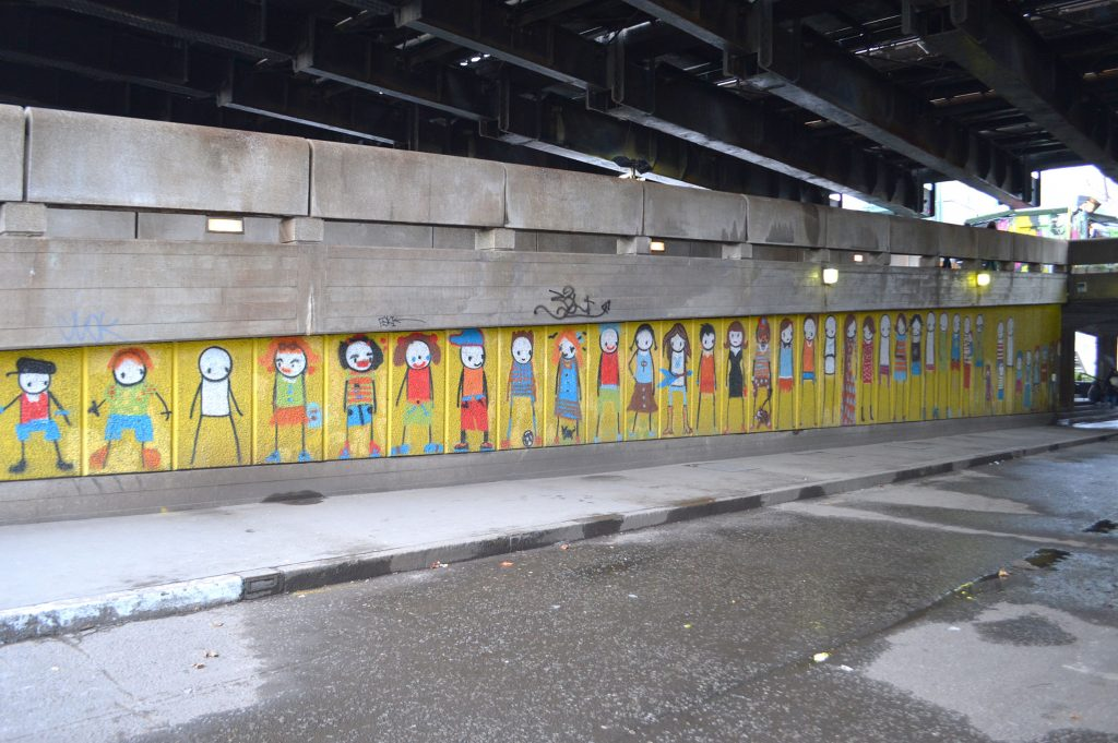 Stik street art mural at Hungerford Bridge, photo by Matt Brown