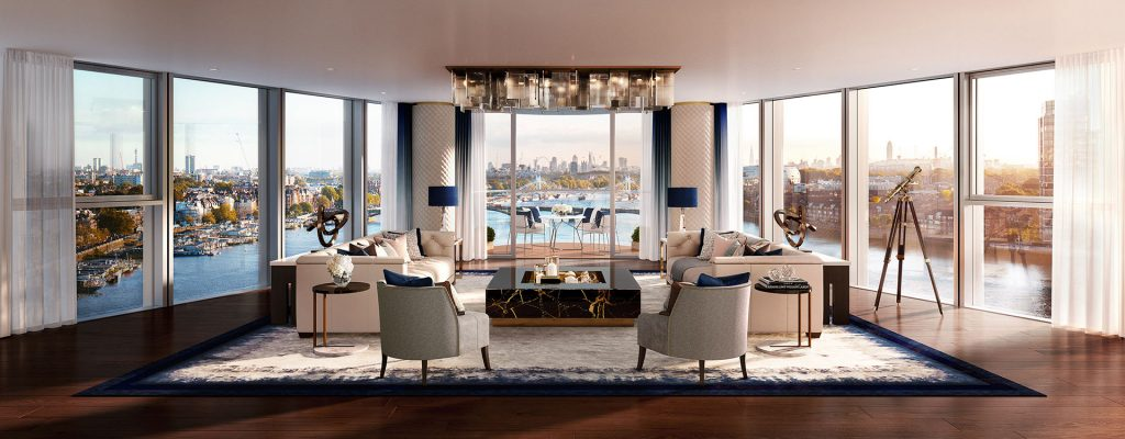 CGI Impression of the reception room in Tower West's top floor penthouse