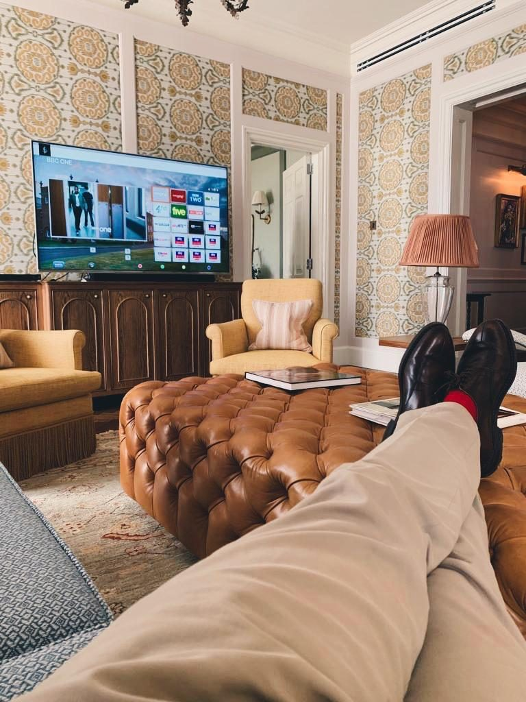 Feet up in luxury hotel