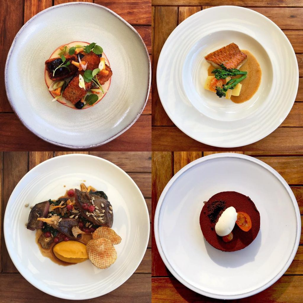 Four plates of gourmet international food from Odettes in Primrose Hill